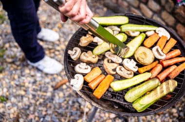 Grilling vegetables outdoors, vegan barbecue